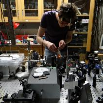Optics research being performed in the Raymer Lab by PhD student
