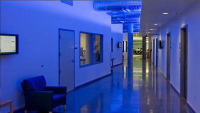 Hallway containing several doors to offices and lab spaces